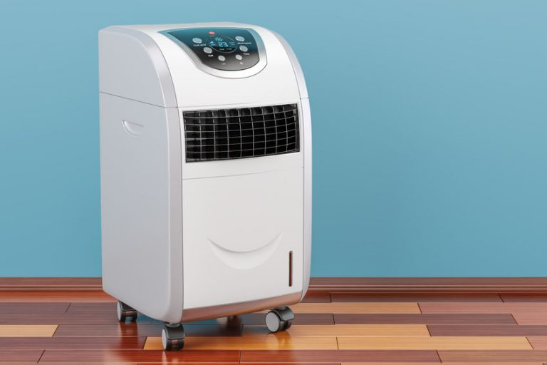 portable air conditioner on a blue background
