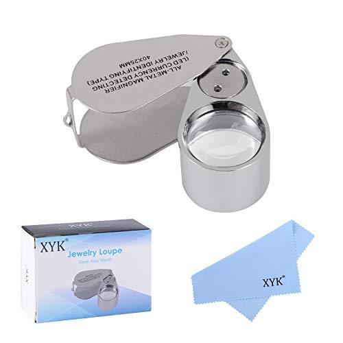 XYK Metalen vergrootglas, inklapbaar wetenschappelijk vergrootglas voor documenten, juwelierslens, oogloep 40 x metaalzilver