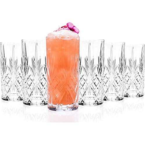 Treble RCR 25766020006 Melodia Crystal Hi-Ball Cocktail Water Tumblers Glasses, Set van 6, 350 ml, Hand Crafted from Quality Luxion Crystal, Dishwasher Safe