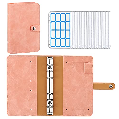 MoKo 6-ring Binder Notebook, A6 PU Leather Loose-leaf Notebook Folder with 12-Pack Clear Plastic Binder Envelopes, Clear Budget Envelope System Planner with Label Stickers - Pink